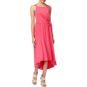 Maison Jules Pink Sleeveless Tie-Side Midi Dress